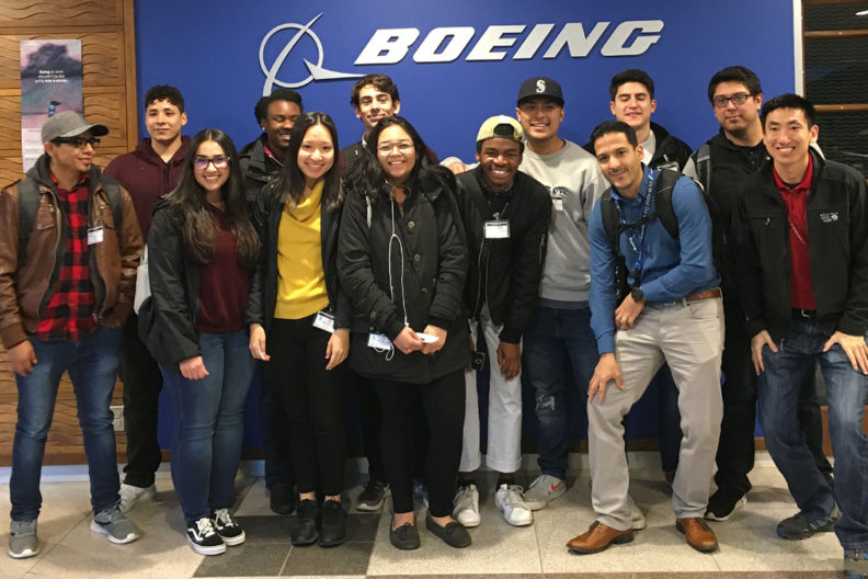 WSU Team Mentoring Program students gather for a photo at Boeing in Everett, Wash.